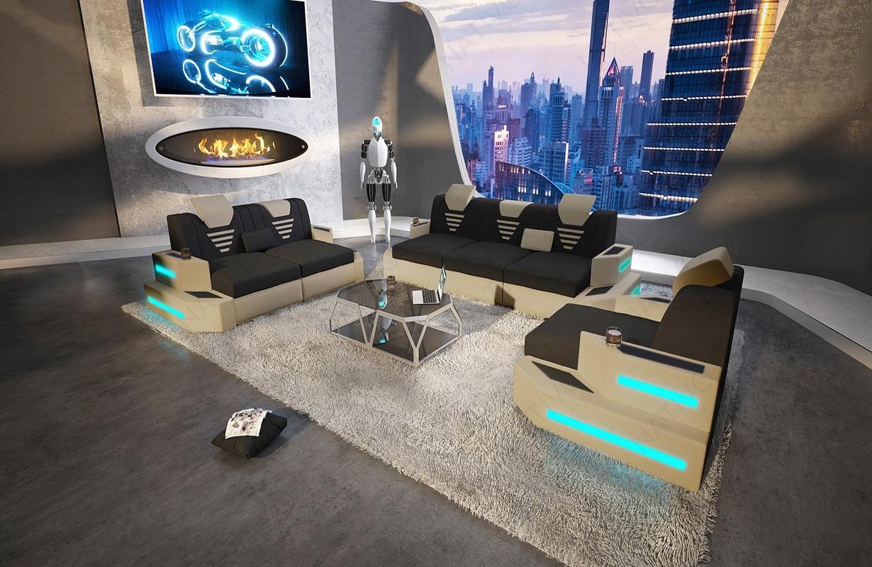Design bank NEMESIS 3+2+1 met LED verlichting en USB-poort