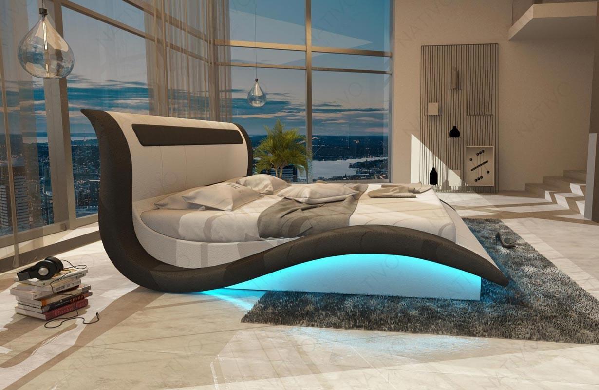 Gestoffeerd bed AMSTERDAM met LED verlichting en USB-poort