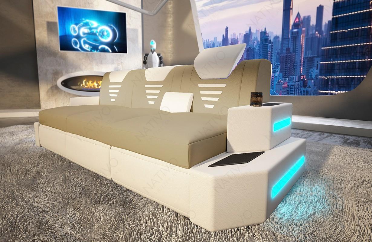Design 3-zitsbank NEMESIS met LED verlichting en USB-poort