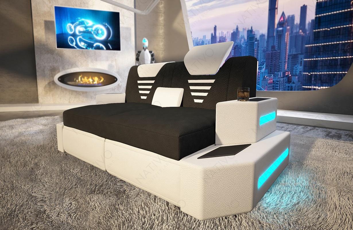 Design 2-zitsbank NEMESIS met LED verlichting en USB-poort