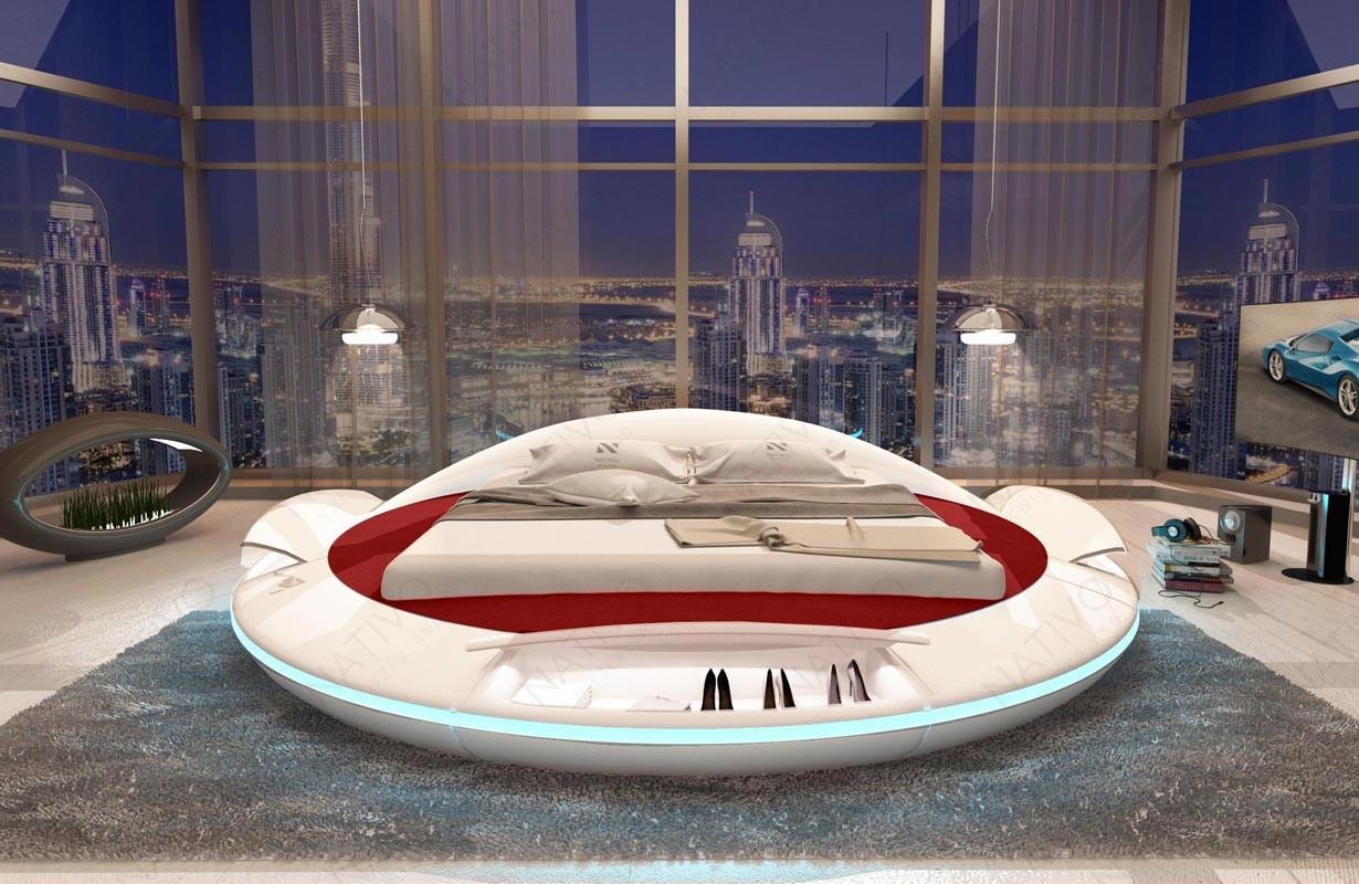 Rond design bed MARS met opbergruimtes en LED verlichting en USB-poort