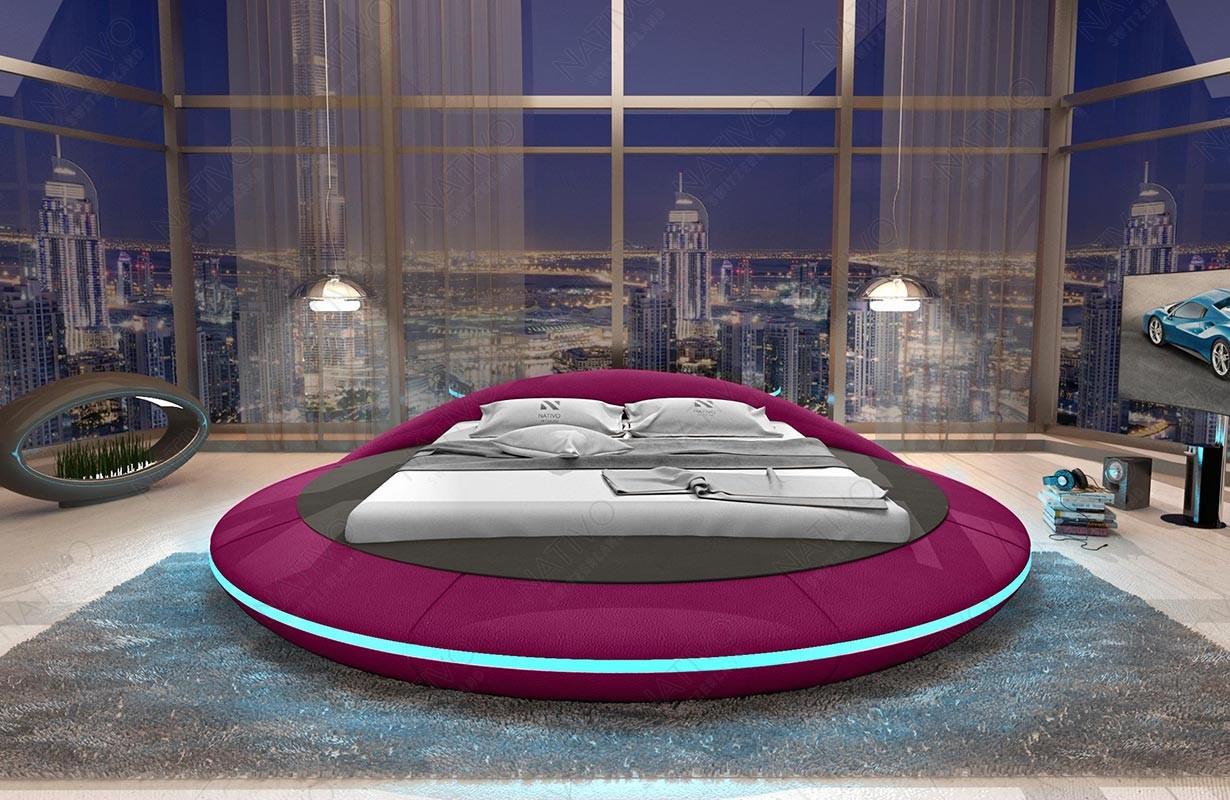 Rond design bed MARS met LED verlichting en USB-poort
