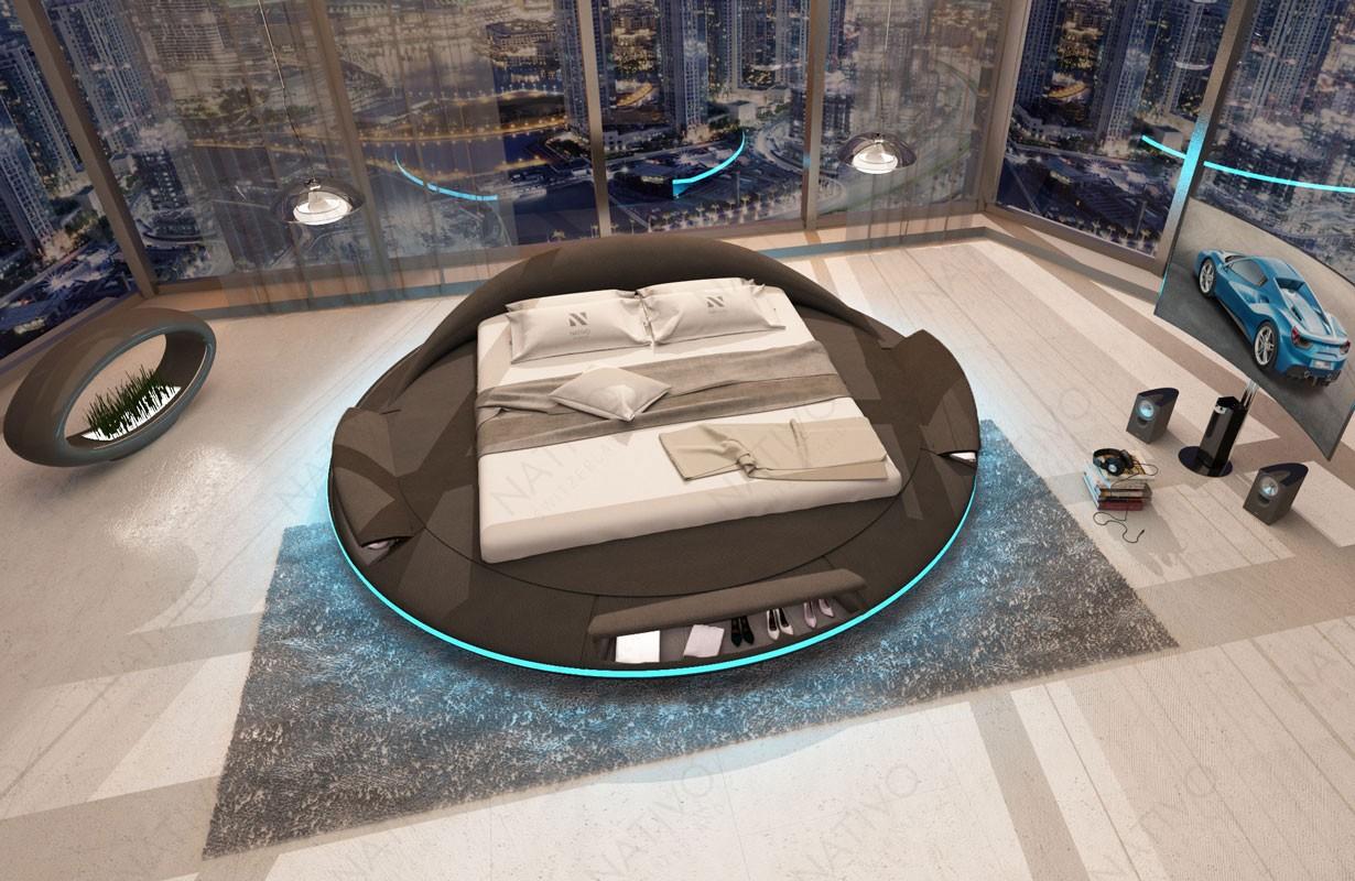 Gestoffeerd bed MARS met opbergruimtes en LED verlichting en USB-poort