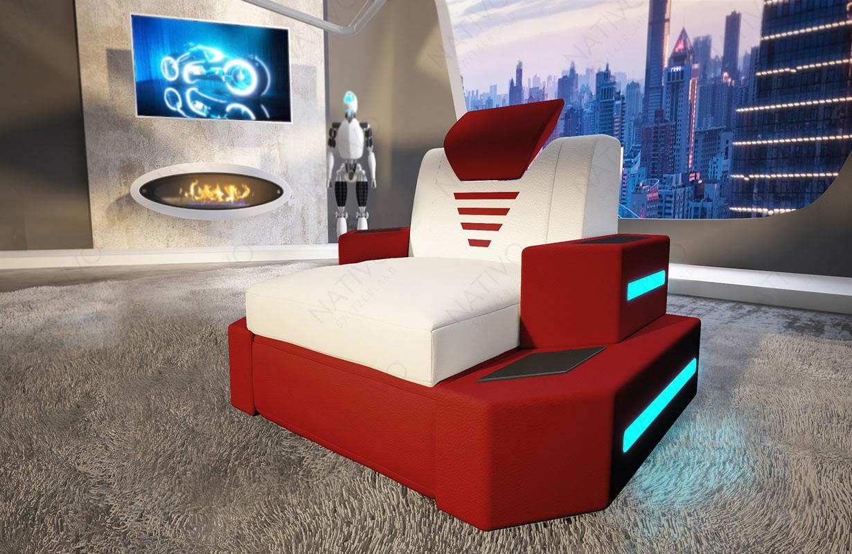 Design fauteuil NEMESIS met LED verlichting en USB-poort