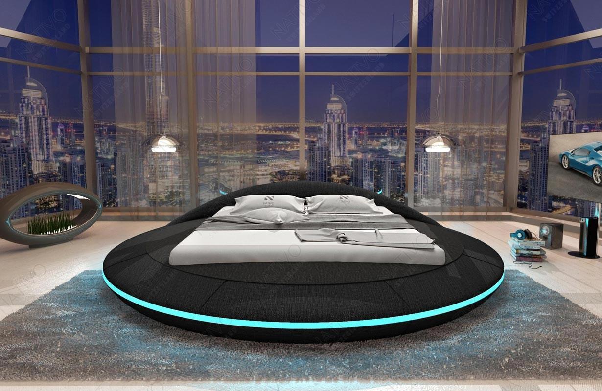 Gestoffeerd bed MARS met LED verlichting en USB-poort