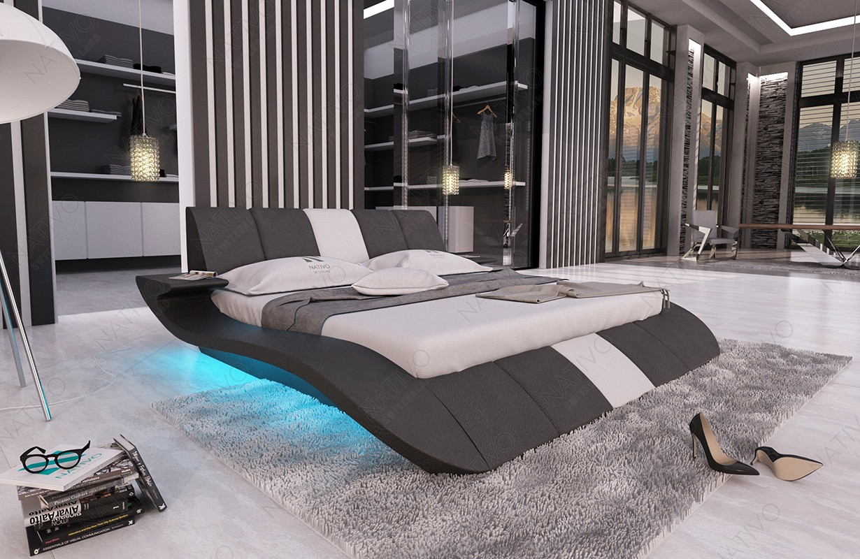 Gestoffeerd bed BERN V1 met LED verlichting en USB-poort