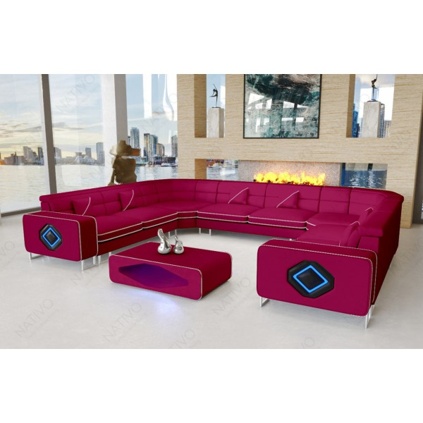 Slaapbank CESARO XXL met LED verlichting NATIVO design meubelen Nederland