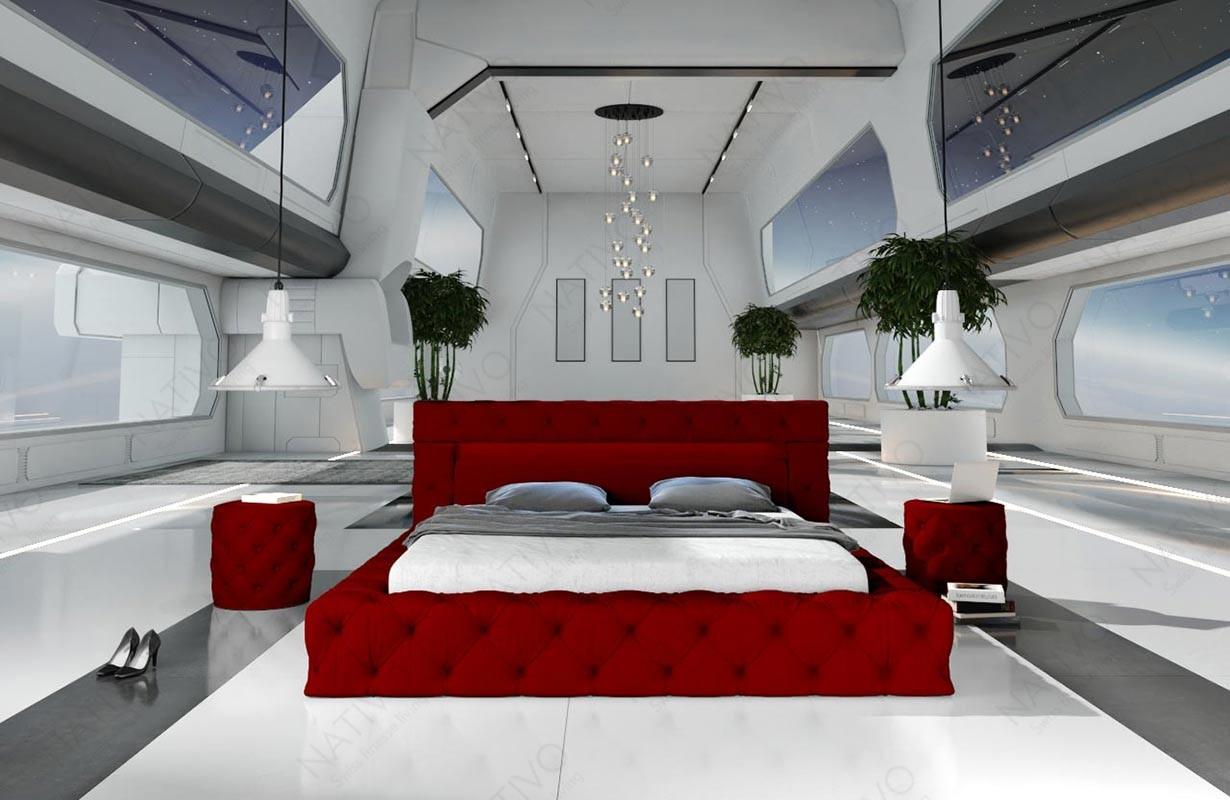 Gestoffeerd bed COMET met verlichting by ©iconX STUDIOS