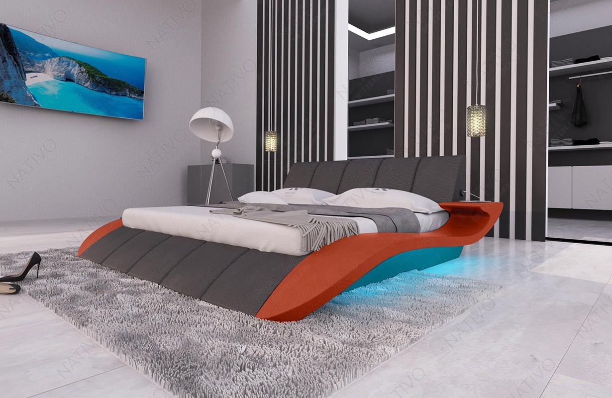 Gestoffeerd bed BERN V2 met LED verlichting en USB-poort