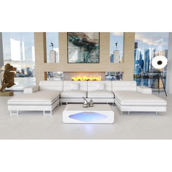 Lederen 3-zitsbank ROYAL met LED verlichting en USB-poort NATIVO design meubelen Nederland