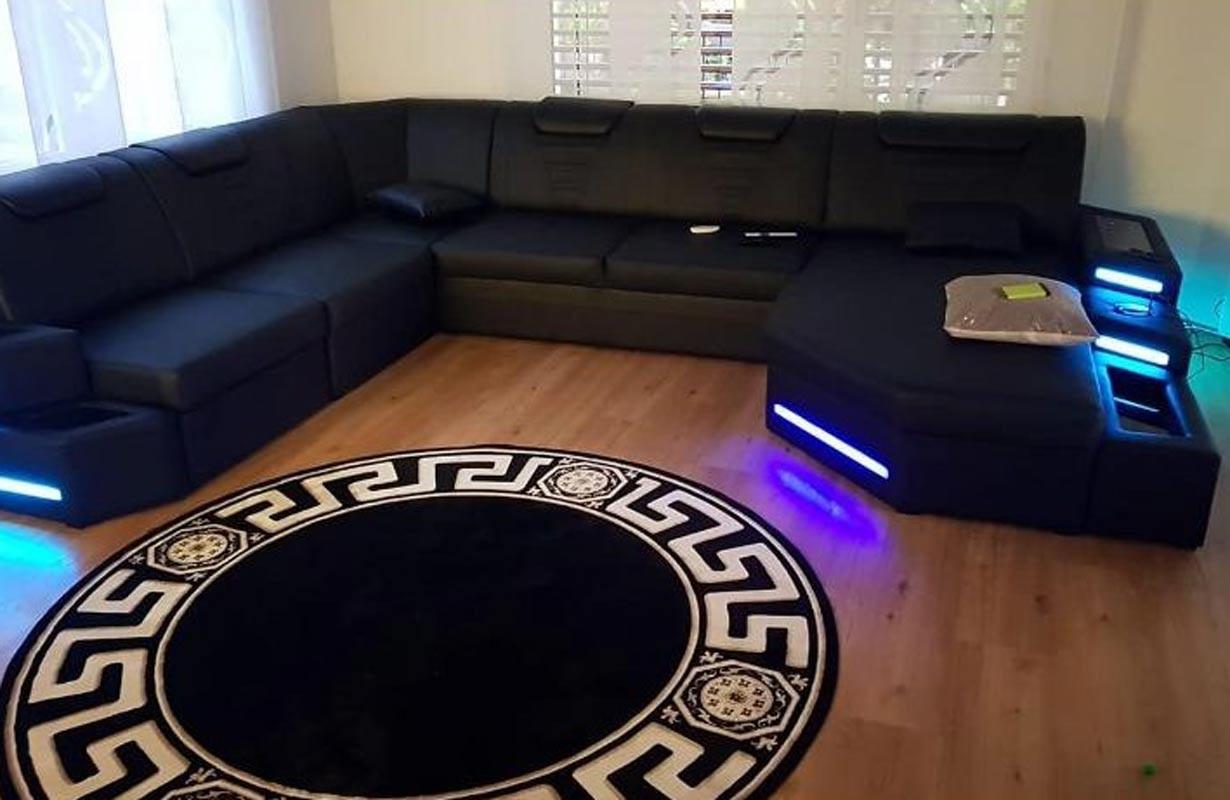 Design bank met LED verlichting en USB-poort