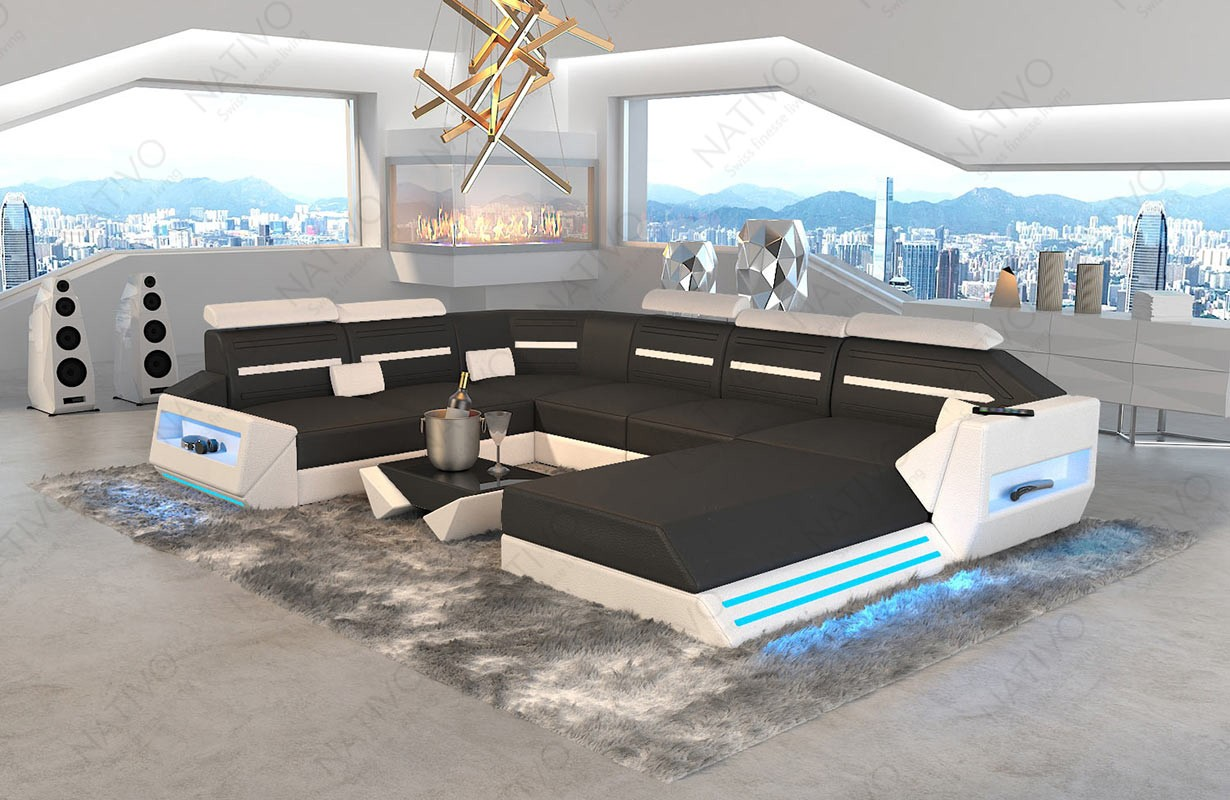 Design bank AVATAR XXL met LED verlichting en USB-poort