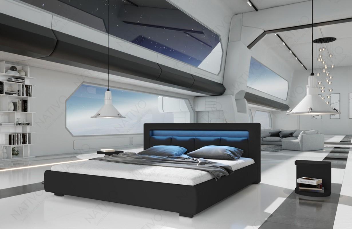 Gestoffeerd bed MOON met verlichting
