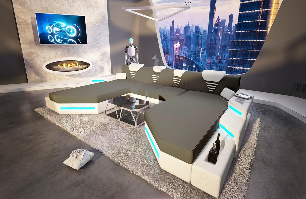 Design bank NEMESIS XXL DUO met LED verlichting en USB-poort