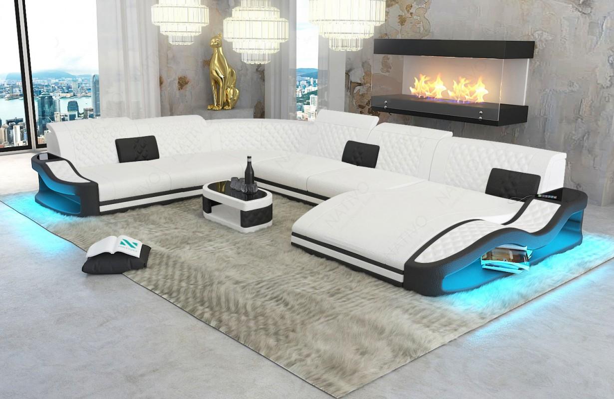 Design bank DIABLO XXL met LED verlichting en USB-poort