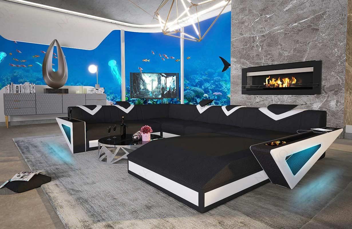Design bank FALCO XXL met LED verlichting en USB-poort