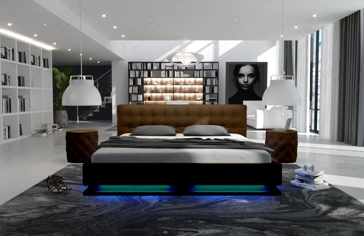 Gestoffeerd bed SYNTEX met verlichting by ©iconX STUDIOS