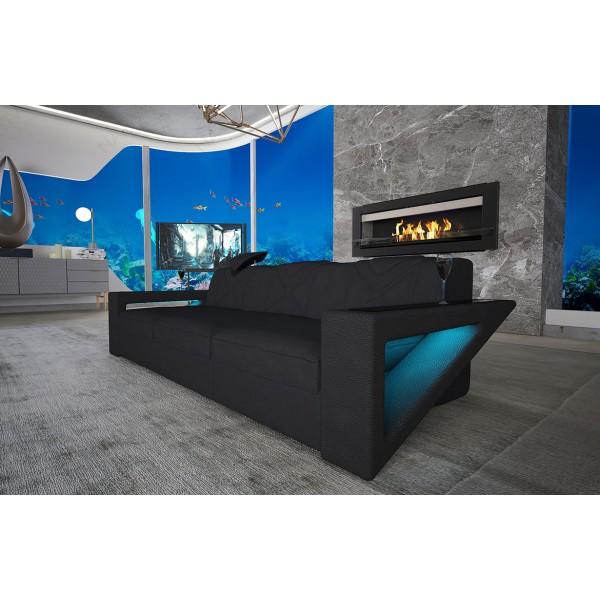 Bed boxspring ZÜRICH uitgevoerd in stof met topper en USB-poort NATIVO design meubelen Nederland
