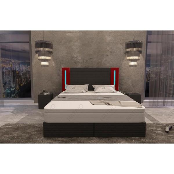 Bed boxspring FRANKFURT uitgevoerd in leder met topper en USB-poort NATIVO design meubelen Nederland