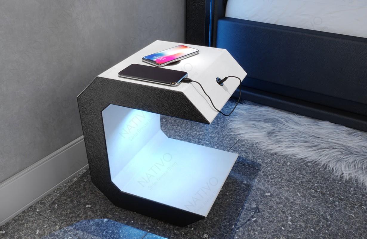 Design nachtkastje LUNA met USB-poort en draadloze oplader