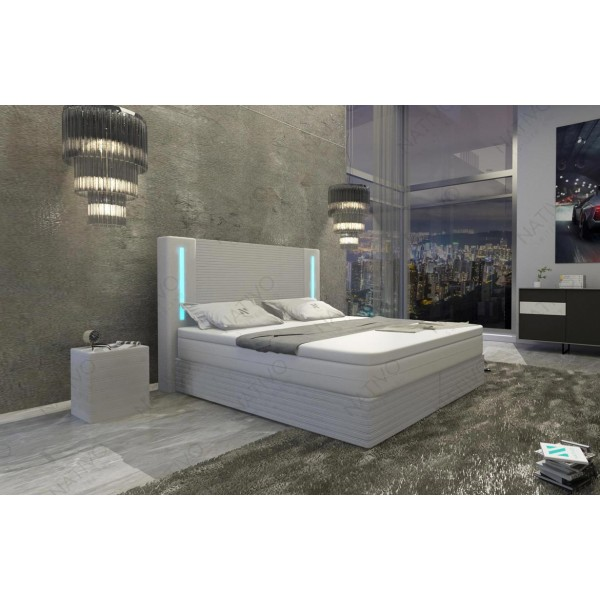 Bed boxspring WIEN uitgevoerd in stof met topper en USB-poort NATIVO design meubelen Nederland