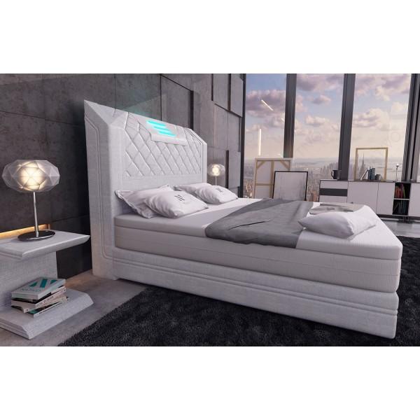 Bed boxspring ZÜRICH uitgevoerd in leder met topper en USB-poort NATIVO design meubelen Nederland