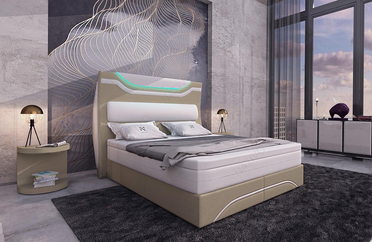 Bed boxspring WIEN uitgevoerd in leder met topper en USB-poort