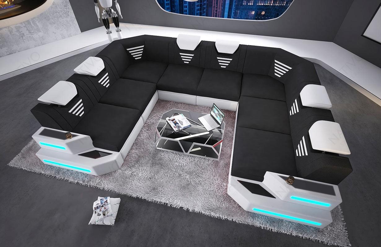 Design bank NEMESIS CORNER U-vorm met LED verlichting en USB-poort