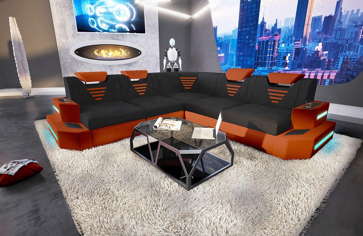 Design bank NEMESIS CORNER met LED verlichting en USB-poort