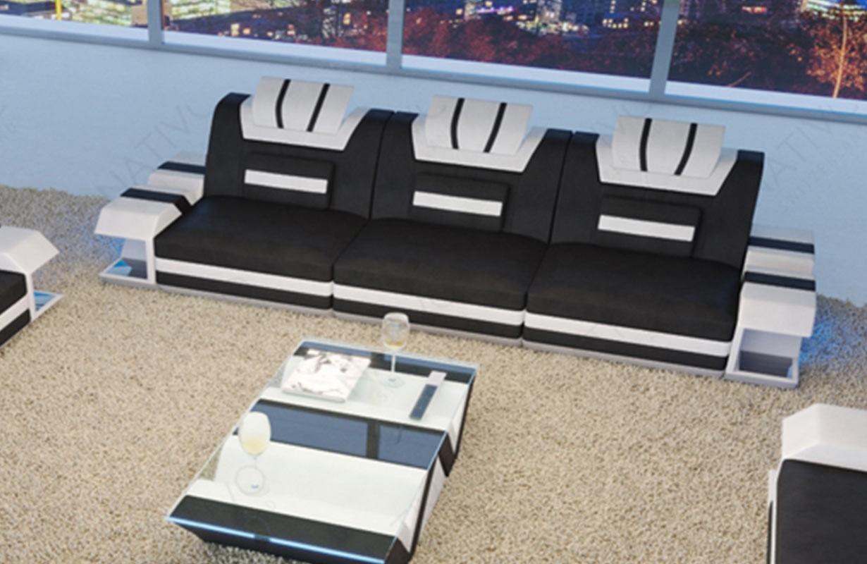 Design 3-zitsbank MYSTIQUE met LED verlichting en USB-poort